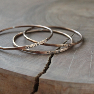 Personalized Skinny Rustic Bronze Bangle, Skinny bangle stack, Custom Name bracelet, Custom Date Bangle, Family Braceletes Custom Hand Stamped Bangles - Rylan Bangle