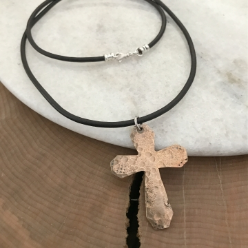 Lincoln Necklace - Personalized Men's Bronze Cross Necklace, Leather And Bronze Cross Necklace