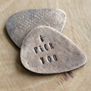 Personalized Bronze Guitar Pick, Custom Message, Handcrafted, Men's Gift, Husband, Boyfriend, Statement Gift