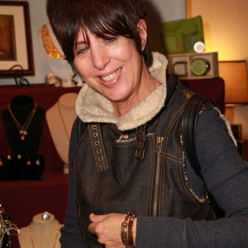 Dianne Warren Wearing 2 Sisters Handcrafted Bold and Bling BE Something Bracelet