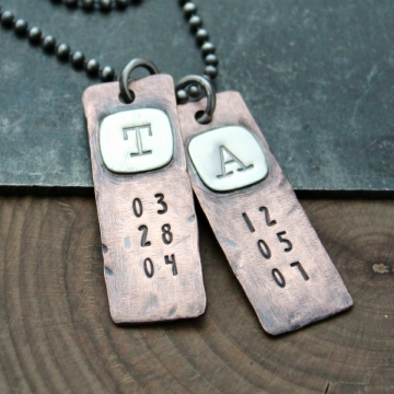 Men's Personalized Silver And Copper Rugged Initial And Date Necklace, Masculine Hand Stamped Tag Necklace - Rob Necklace
