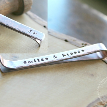 Personalized Rustic Copper Tie Bar or Skinny Tie Bar, Men's Tie Clip - Jake Tie Bar