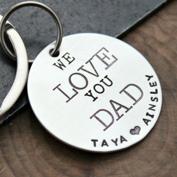 Custom Silver Keychain, Personalized Dad Keychain, Mom Keychain Gift - Love Keychain