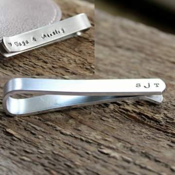 Personalized Tie Bar or Skinny Bar - Hand Stamped Men's Tie Clip Gift Men's Gift