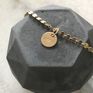 Elaine Bracelet, Personalized Initial Gold Coin Chain Bracelet, Personalized Gold Couples Bracelet