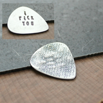 Personalized Guitar Pick In Fine Silver, Custom Message, Double Sided Guitar Pick, Men's Gift, Husband, Boyfriend, Statement Gift - Jack Pick