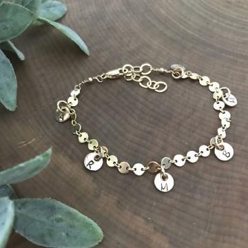 Personalized Gold Initial Charm Bracelet - Az Bracelet