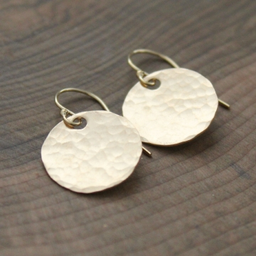 Gold Hammered Earrings - Full Circle Earrings, Dangle Round Discs