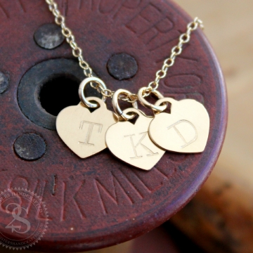 Personalized Gold Heart Initial Necklace - Tricia Necklace