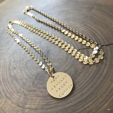 Personalized Grace Necklace, Long Gold Filled Layering Necklace