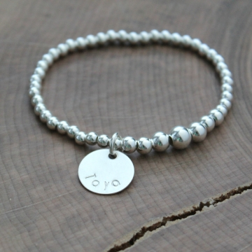 Personalized Graduated Bead Bracelet, Sterling Silver Small to Large Ball Bead, Adjustable Bracelet With Name Charm, Woman's Bracelet, Sterling Silver Word Bracelet, Friend Gift - Heather Bracelet
