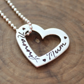 Personalized Heart Necklace, Sterling Silver Family Necklace, Add More Hearts For More Names - Holly Necklace