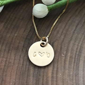 Honey Necklace, Personalized Gold Initials Necklace, Couples Necklace