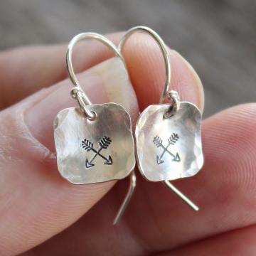 Silver Crossed Arrows Dangle Earrings - First Nations Friendship Earrings