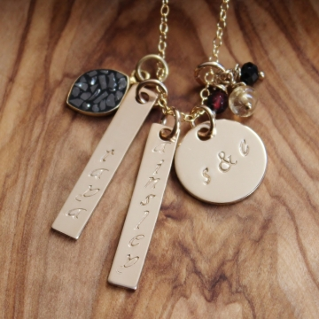 Gold & Diamonds Personalized & Hand Stamped Family Necklace - Names, Dates, Initials, Long & Lat