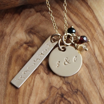Gold Personalized Hand Stamped Necklace - Names, Dates, Initials Lon & Lat, Custom