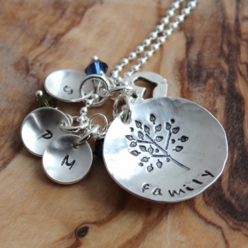 Personalized Family Tree Initial Necklace - Free Form Tree Hand Stamped Silver
