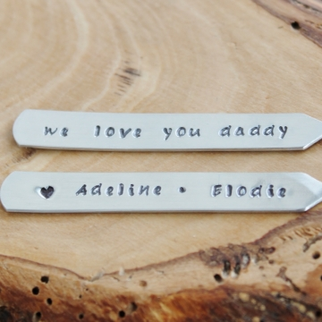Men's Personalized Collar Stays Hand Stamped Message, Men's Gift