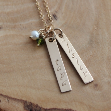 Gold Personalized Hand Stamped Necklace With Birthstones - James Necklace