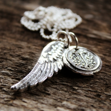 Personalized Fine Silver Angel Wing and Wax Seal Initial Charms - Loving Memories Initial Necklace