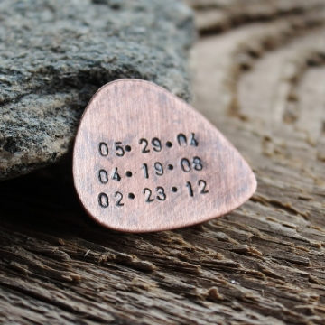 Personalized Hand Stamped Guitar Pick In Rustic Copper To Use or Keep as a Token Men's Gift