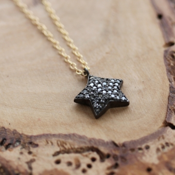 Pave Diamond Star Necklace - Wishing Star