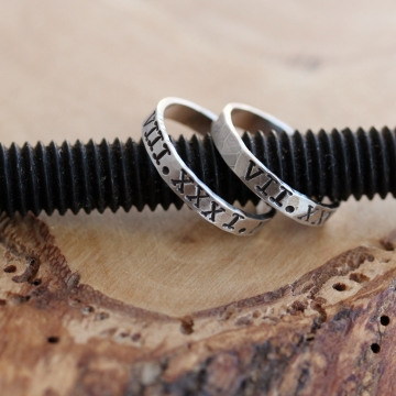 Personalized HIs & Hers or Stacking Roman Numeral Rings - Hand Stamped, Sterling Silver set of 2 - Johnson Rings