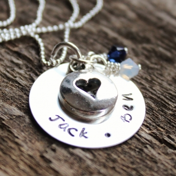 Personalized Hand Stamped Mommy Necklace Open Heart With Birthstones, Sterling Silver Name Jewelry