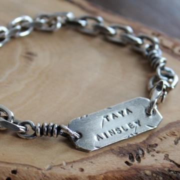 Men's Personalized Chunky Chain Bracelet - Silver Name Bracelet, Gift for Dad, Husband