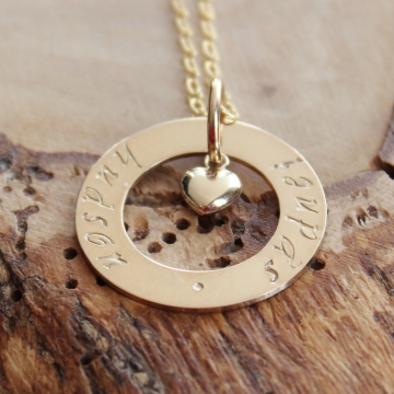 Personalized Gold Open Circle Necklace With Love - Hand Stamped Mommy Necklace - Sydnei Necklace