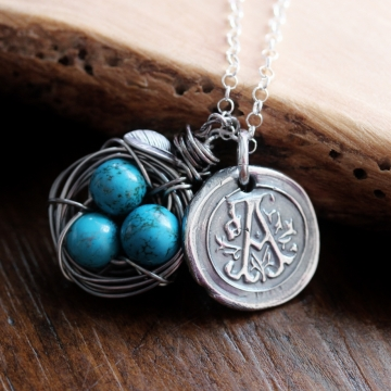 Personalized Wax Seal and Birds Nest Necklace - Vintage Inspired, Boho Style, Monogrammed