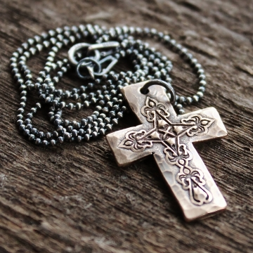 Personalized Solid Bronze Rustic Cross Necklace - On Dark Sterling Silver Chain