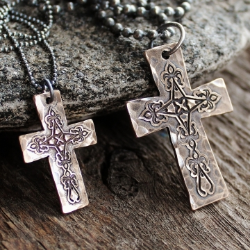 His and Hers Personalized Bronze Cross Necklaces - With Dark Sterling Silver Chains - Rustic Everyday Jewelry