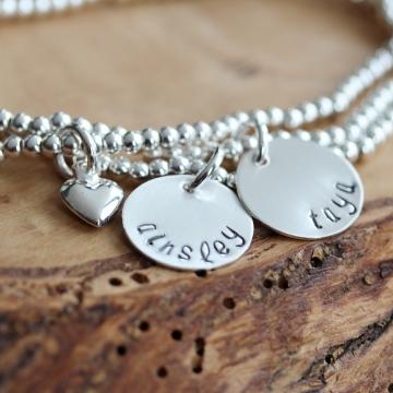 Personalized Silver Name Bracelet Stacking Set- Adjustable, Hand Stamped - Lillian Bracelet