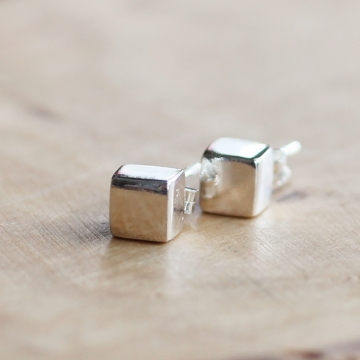 Sterling Silver Cube Earrings - Everyday Modern Geometric Squares