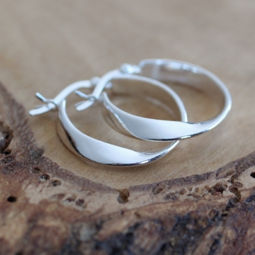 Sterling Silver Twisted Hoop Earrings - Twist Earrings