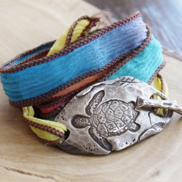 Sea Turtle Inspirational Silk Wrap Bracelet - Sure & Steady Bracelet