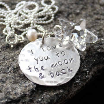 Personalized Love You To The Moon & Back Silver and Crystal Star Necklace