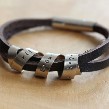 Personalized Men's Secret Message Bracelet - Custom Rugged Leather
