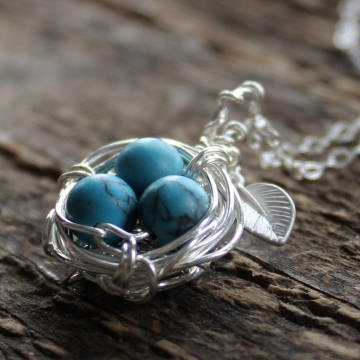 Personalized Silver Bird's Nest Necklace - Turquoise Or Pearl