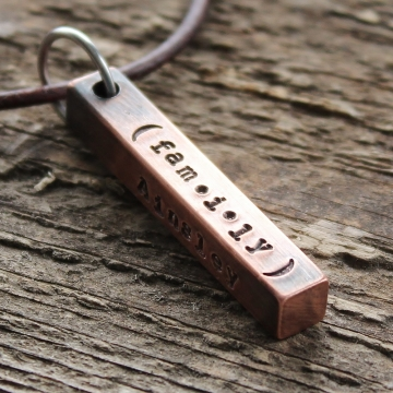 Personalized Mens Hand Stamped Necklace - Custom Mens Bar Necklace - Thick & Rustic Copper Mens Gift