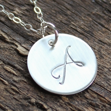 Personalized Monogram Silver Necklace - Hand Stamped Bridesmaid Gift