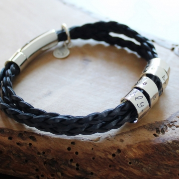Personalized Secret Spinning Message Bracelet Sterling Silver Braided Leather Band - Ryan Bracelet