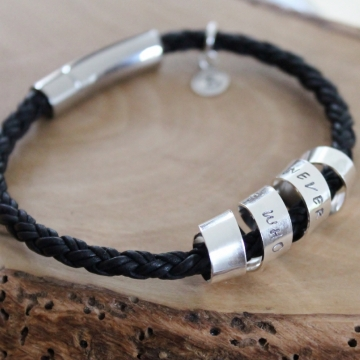Personalized Secret Spinning Message Bracelet on Wide Braided Leather - Jaime Bracelet