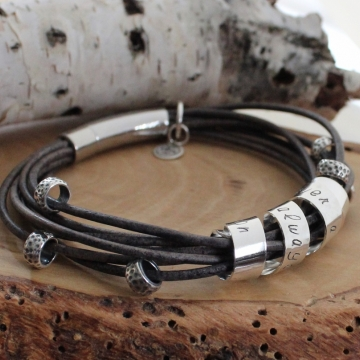 Custom Sterling Silver & Leather Wrap Bracelet with Secret Spinning Message Bar - Jess Bracelet