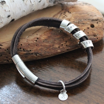 Personalized Secret Spinning Message Bracelet on Rugged Leather - Max Bracelet
