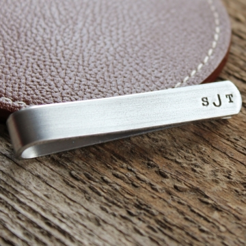 Personalized Mens Tie Bar - Hand Stamped Monogram