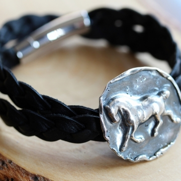 Running Horse Silver & Leather Medallion Bracelet - Strong & Free Spirit Equestrian Bracelet