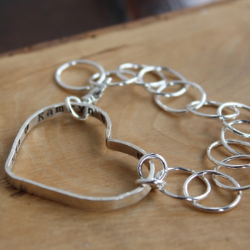 Personalized Silver Everyday Heart Bracelet