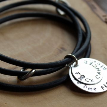 F*CK Cancer Leather & Silver Wrap Bracelet - Cancer Awareness